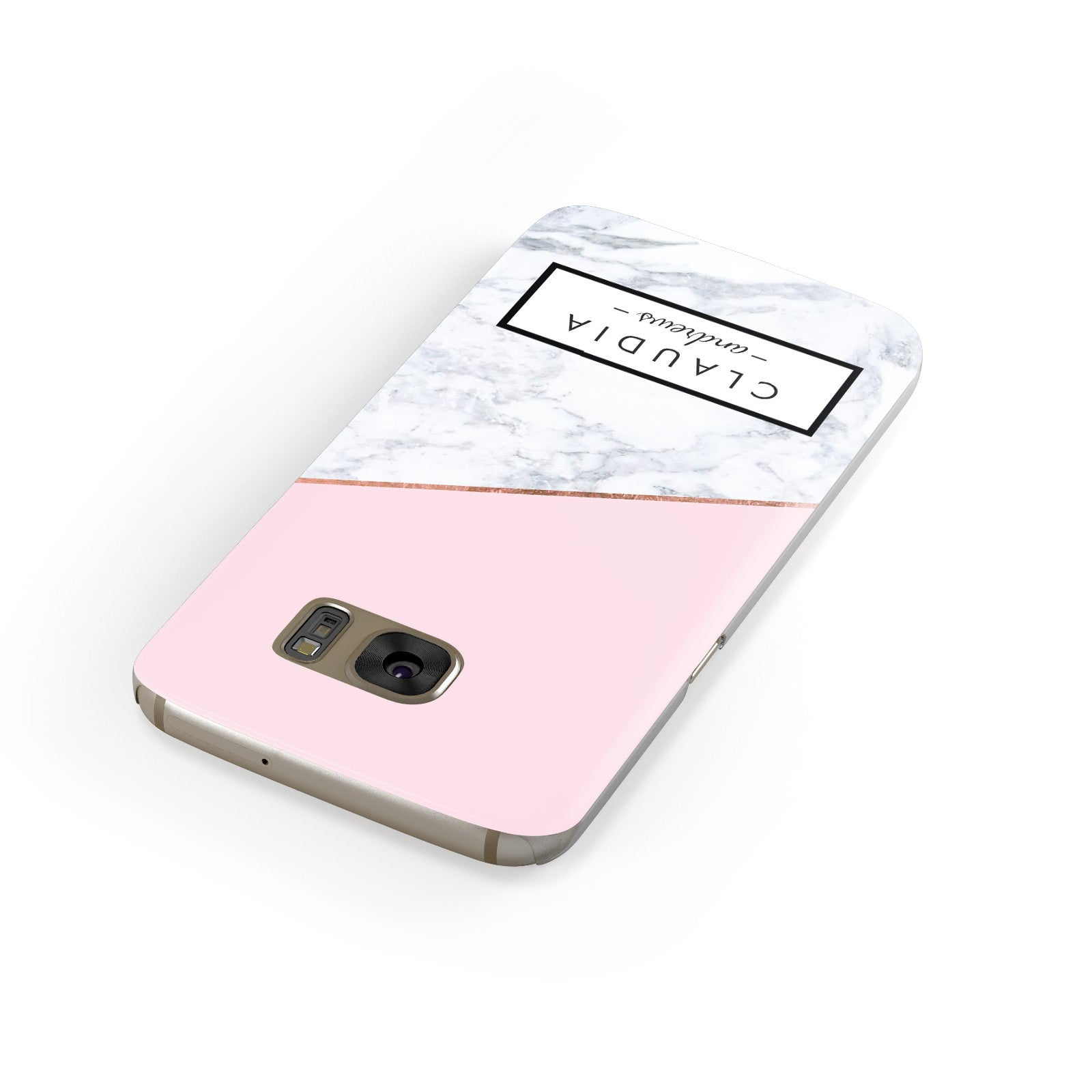 Personalised Pink With Marble Initials Name Samsung Galaxy Case Front Close Up