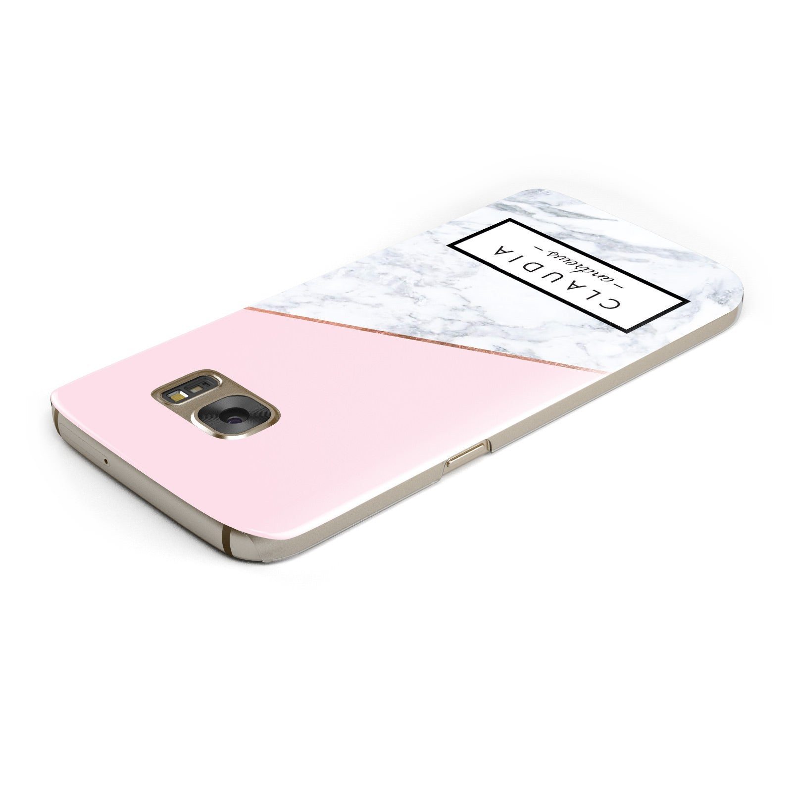 Personalised Pink With Marble Initials Name Samsung Galaxy Case Top Cutout