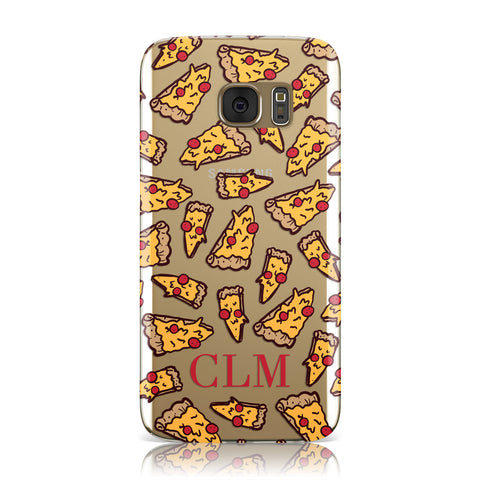Personalised Pizza Initials Clear Samsung Galaxy Case