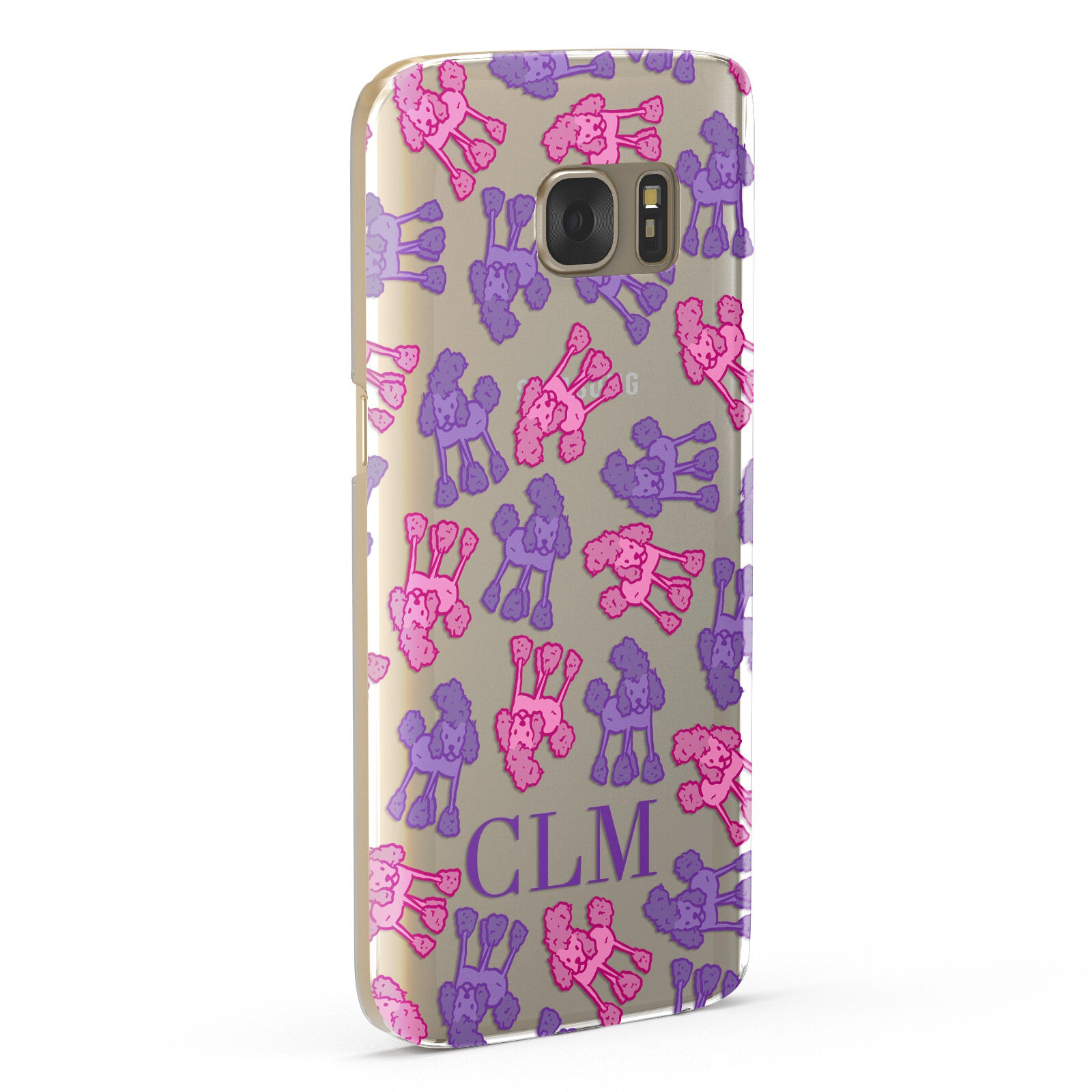 Personalised Poodle Initials Clear Samsung Galaxy Case Fourty Five Degrees