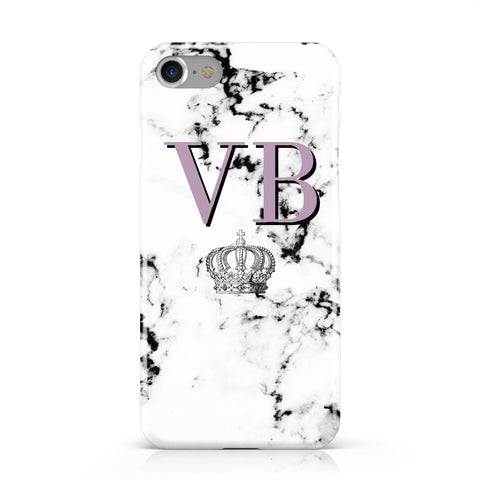 Personalised Princess Crown Initials Marble Apple iPhone Case