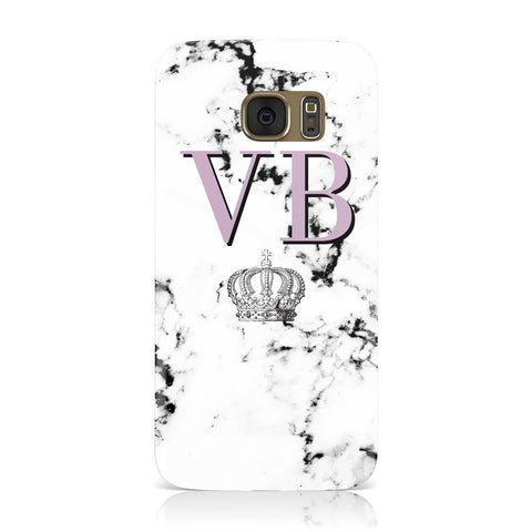 Personalised Princess Crown Initials Marble Samsung Galaxy Case