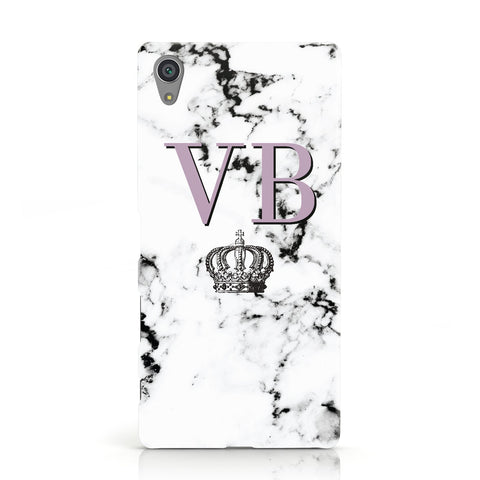 Personalised Princess Crown Initials Marble Sony Xperia Case