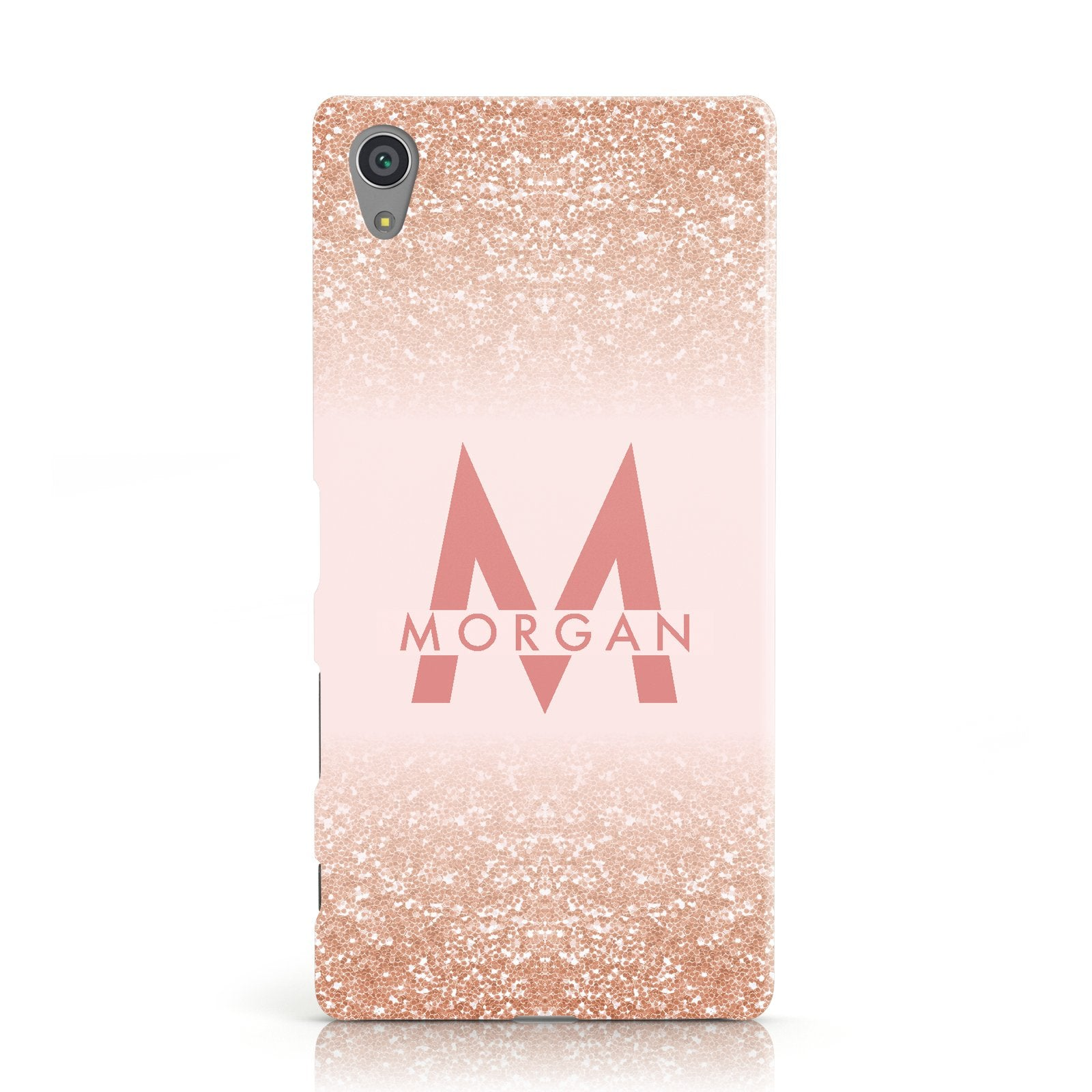 Personalised Printed Glitter Name Initials Sony Xperia Case  71fde88c375f