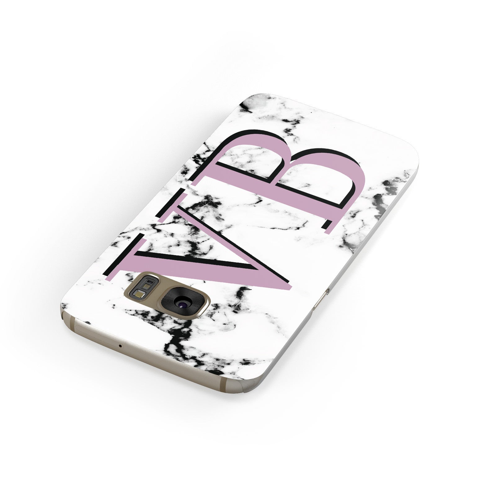 Personalised Purple Big Initials Marble Samsung Galaxy Case Front Close Up