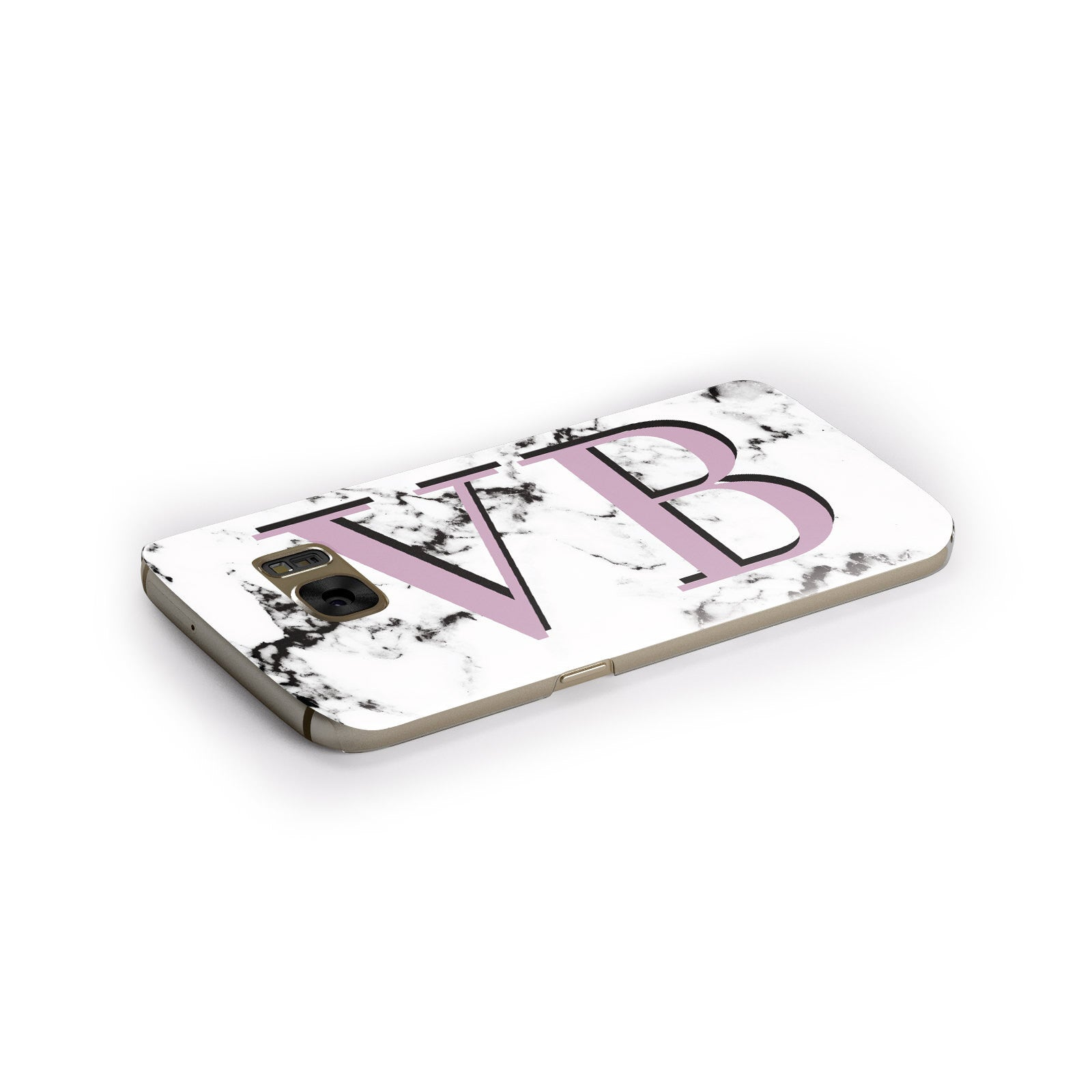 Personalised Purple Big Initials Marble Samsung Galaxy Case Side Close Up