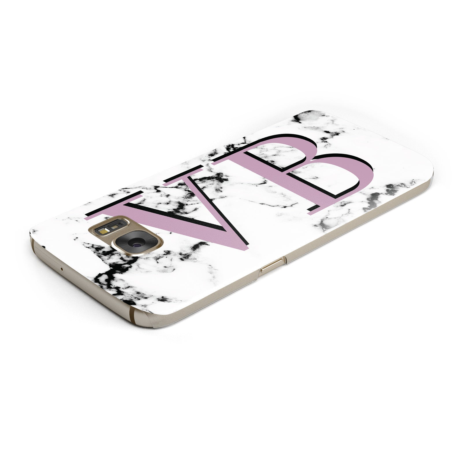 Personalised Purple Big Initials Marble Samsung Galaxy Case Top Cutout