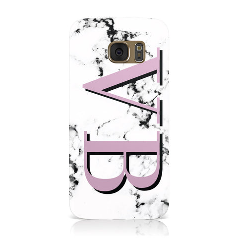 Personalised Purple Big Initials Marble Samsung Galaxy Case