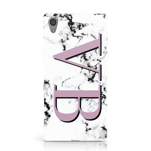 Personalised Purple Big Initials Marble Sony Xperia Case