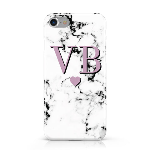 Personalised Purple Initialed Marble Heart Apple iPhone Case