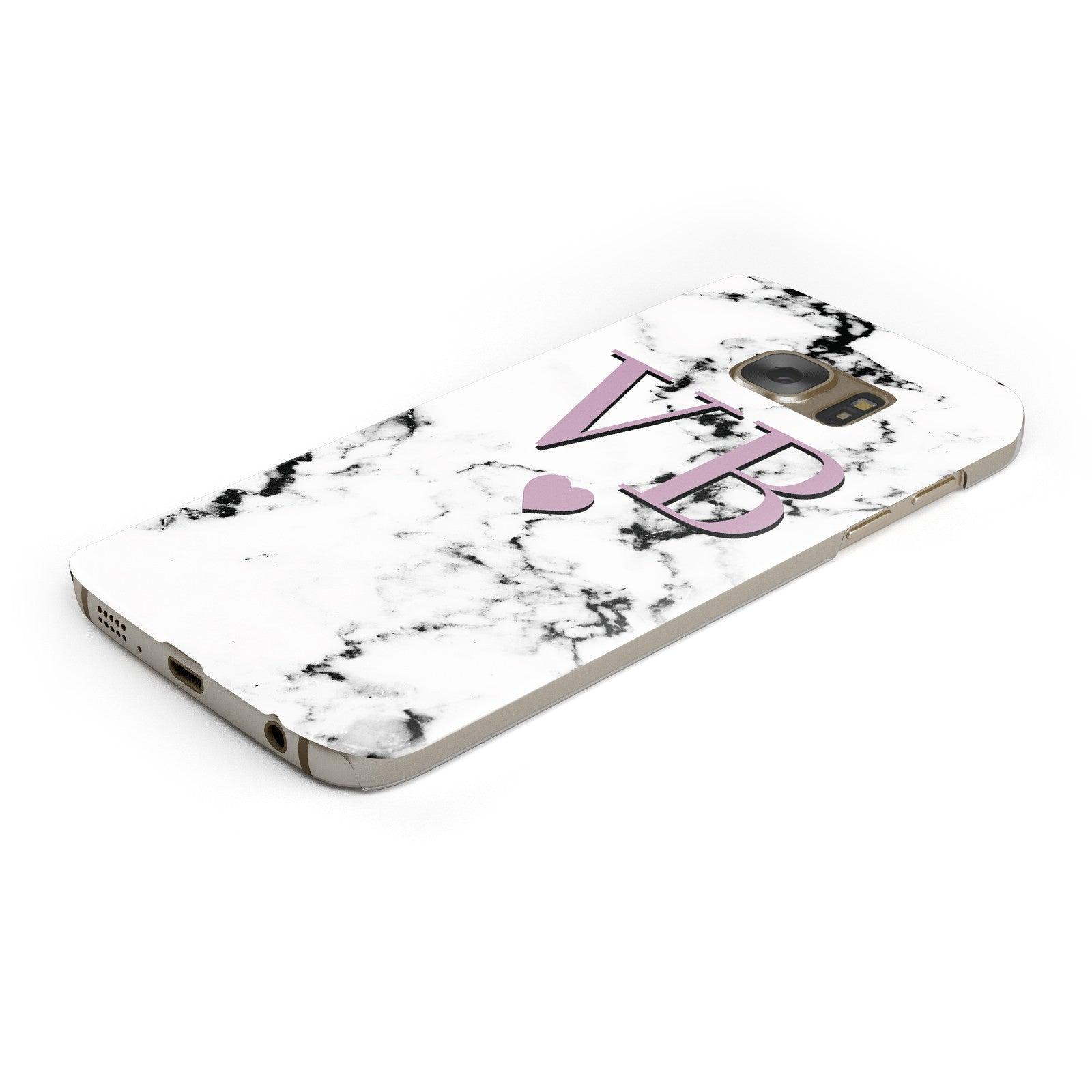 Personalised Purple Initialed Marble Heart Samsung Galaxy Case Bottom Cutout