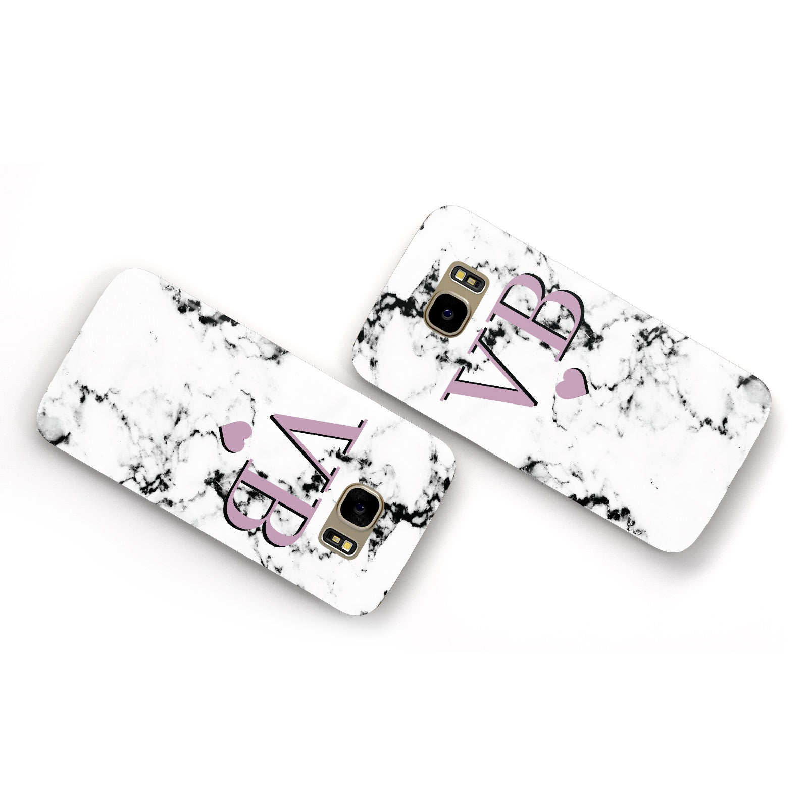 Personalised Purple Initialed Marble Heart Samsung Galaxy Case Flat Overview