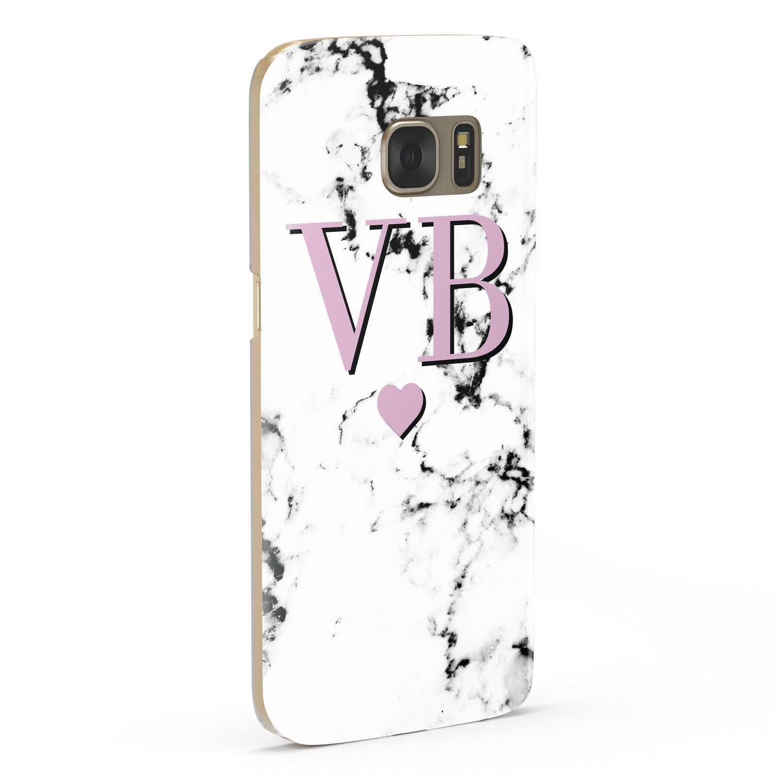 Personalised Purple Initialed Marble Heart Samsung Galaxy Case Fourty Five Degrees