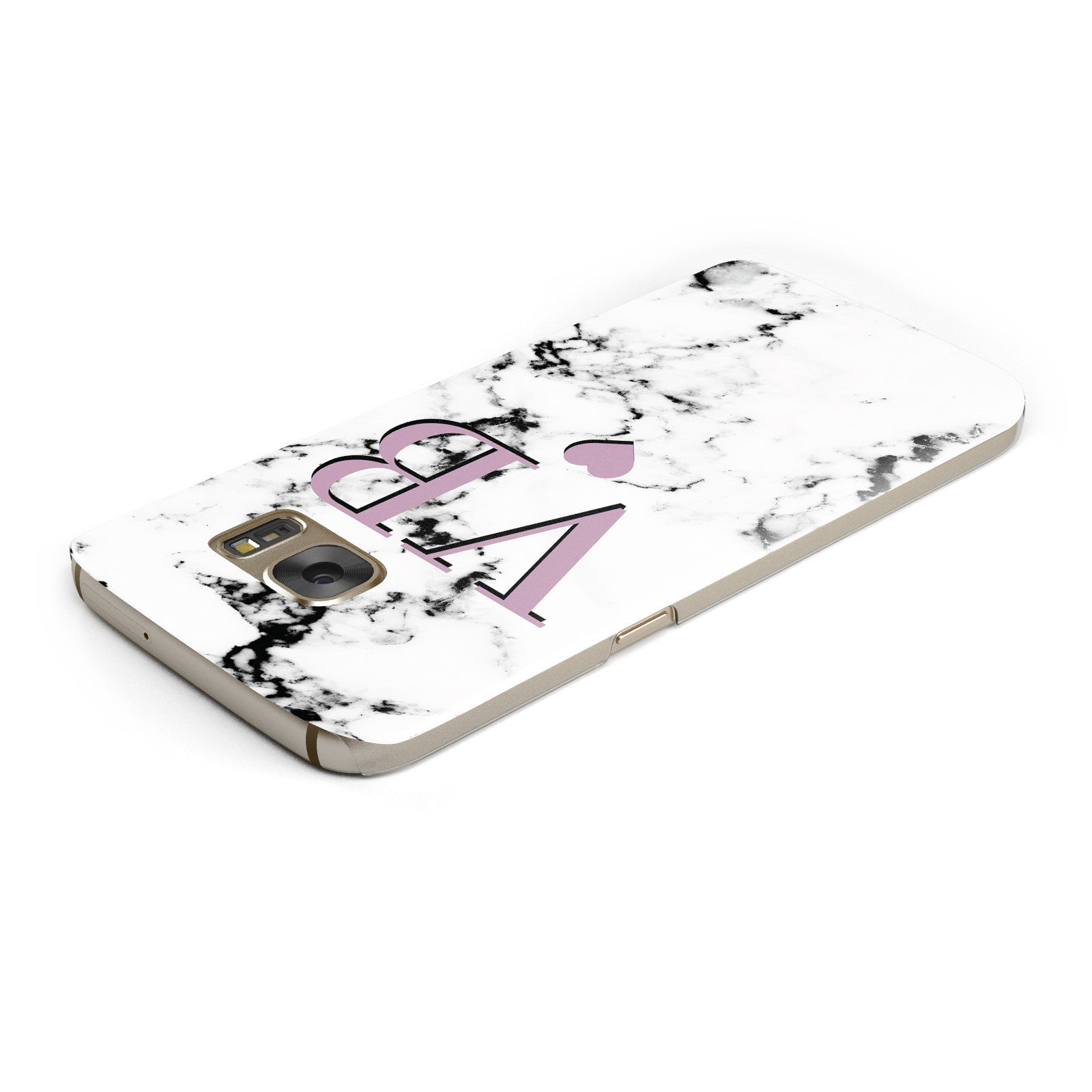 Personalised Purple Initialed Marble Heart Samsung Galaxy Case Top Cutout