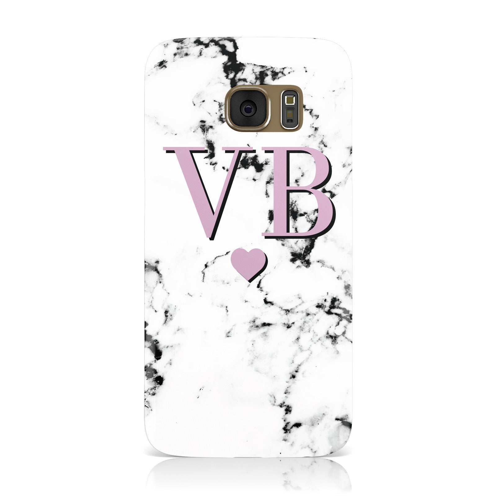 Personalised Purple Initialed Marble Heart Samsung Galaxy Case