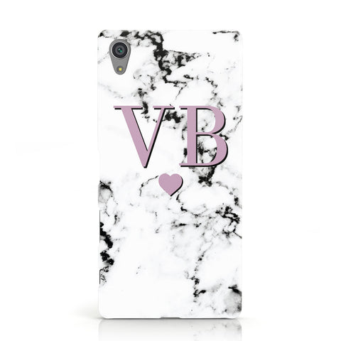Personalised Purple Initialed Marble Heart Sony Xperia Case