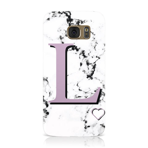 Personalised Purple Monogram Marble Heart Samsung Galaxy Case