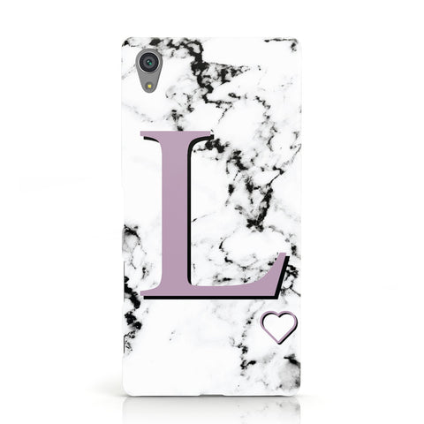 Personalised Purple Monogram Marble Heart Sony Xperia Case
