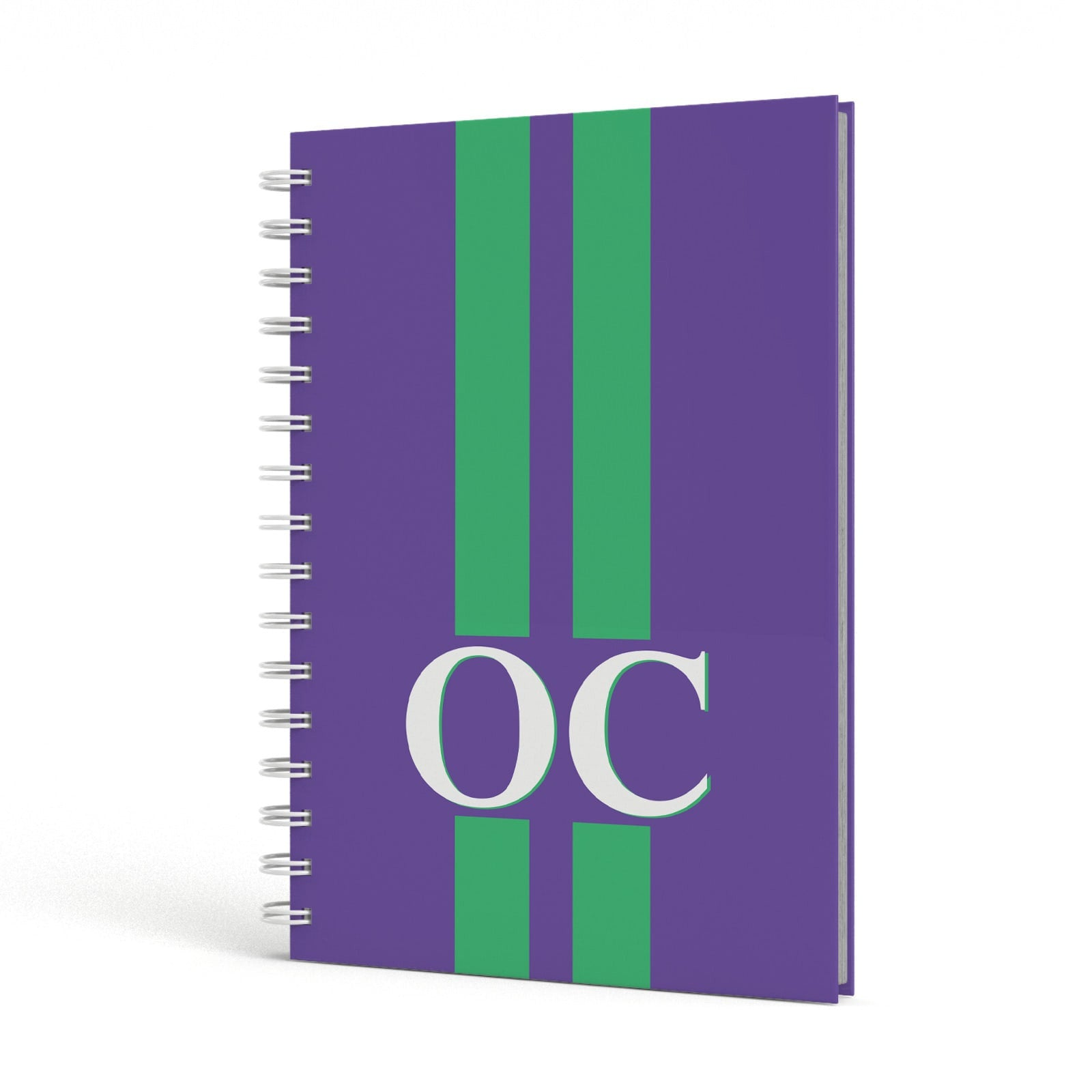 Purple Personalised Initials A5 Hardcover Notebook Side View