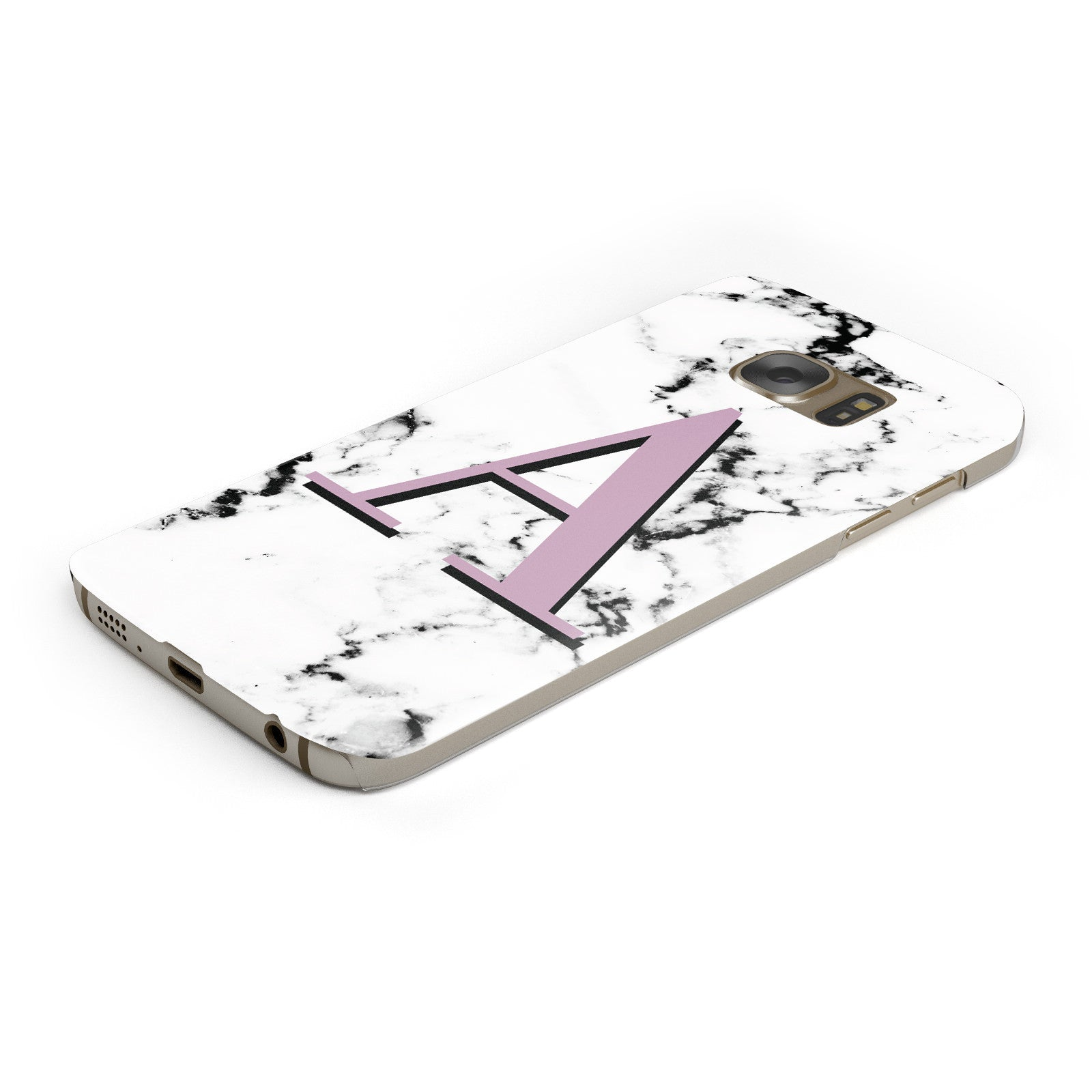 Personalised Purple Single Initial Marble Samsung Galaxy Case Bottom Cutout