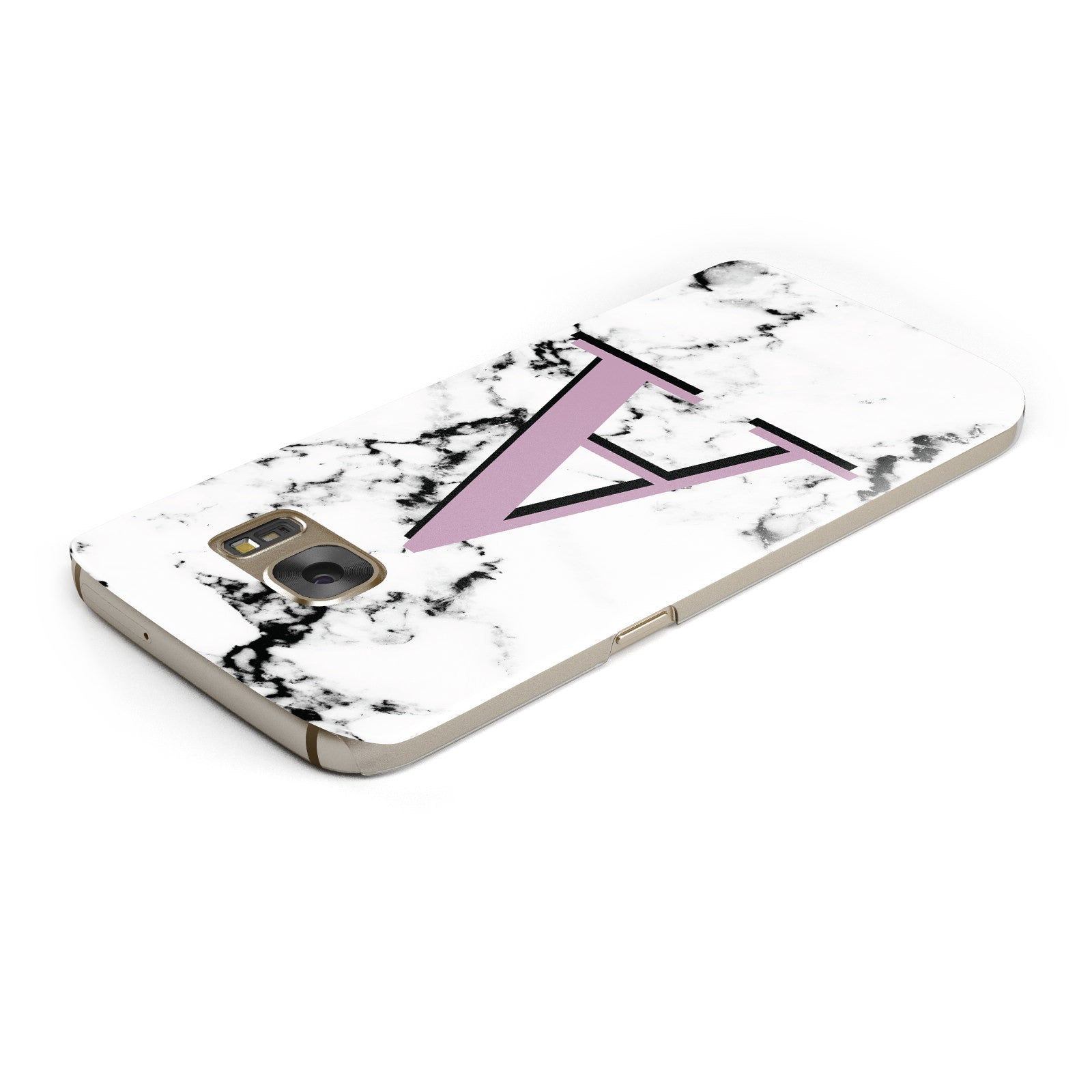 Personalised Purple Single Initial Marble Samsung Galaxy Case Top Cutout