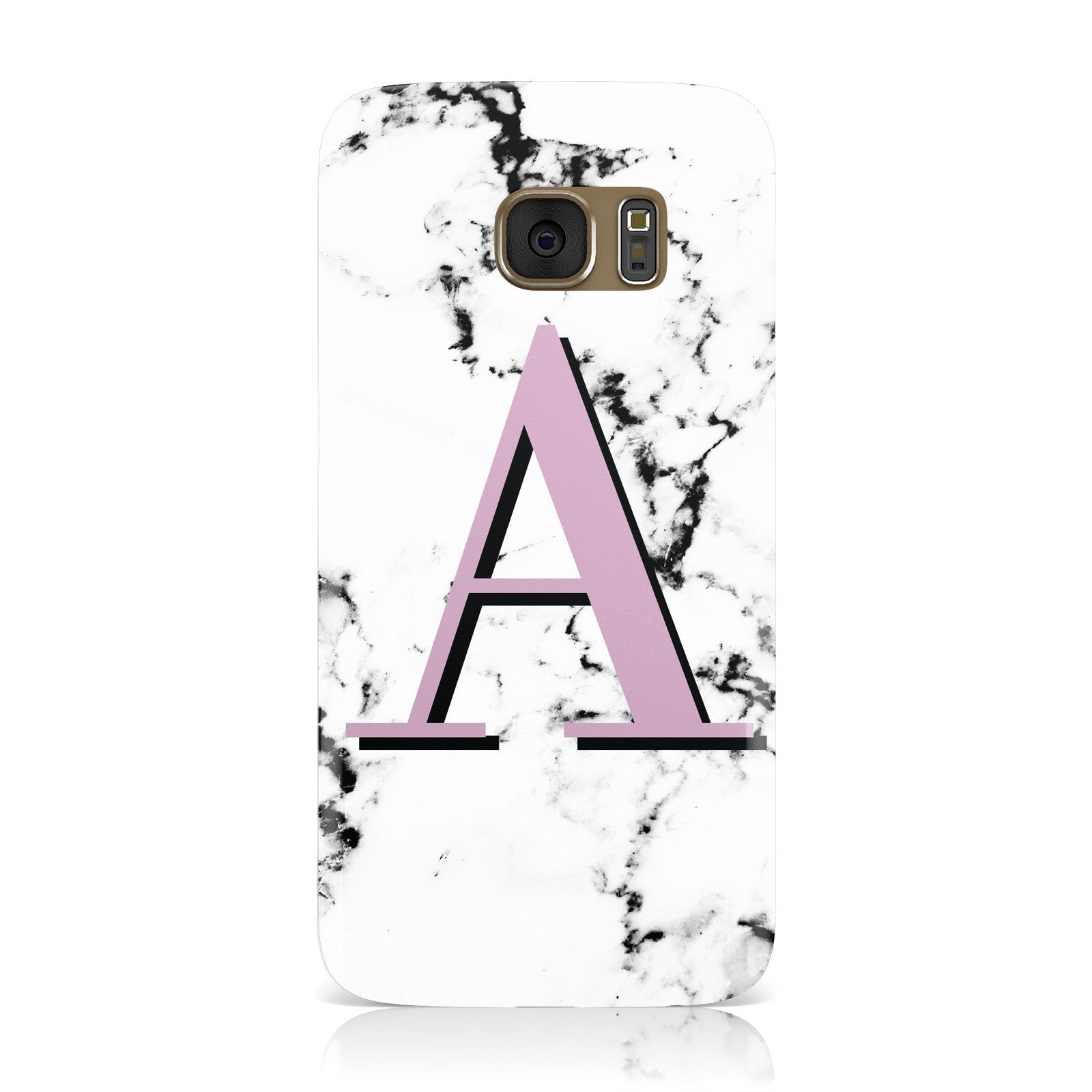 Personalised Purple Single Initial Marble Samsung Galaxy Case