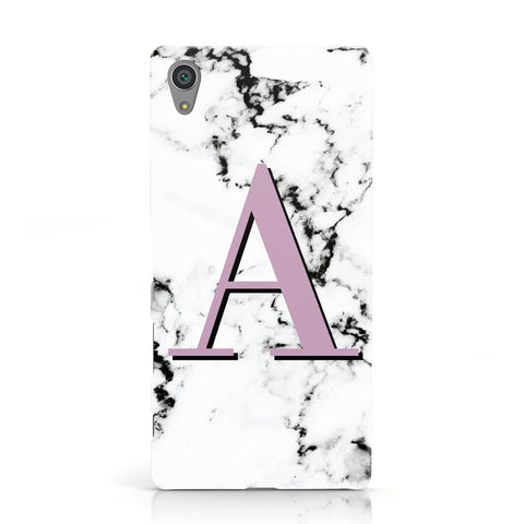 Personalised Purple Single Initial Marble Sony Xperia Case