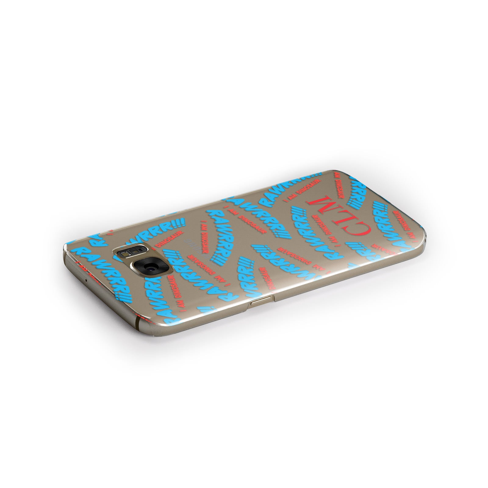 Personalised Rawr Dino Initials Samsung Galaxy Case Side Close Up