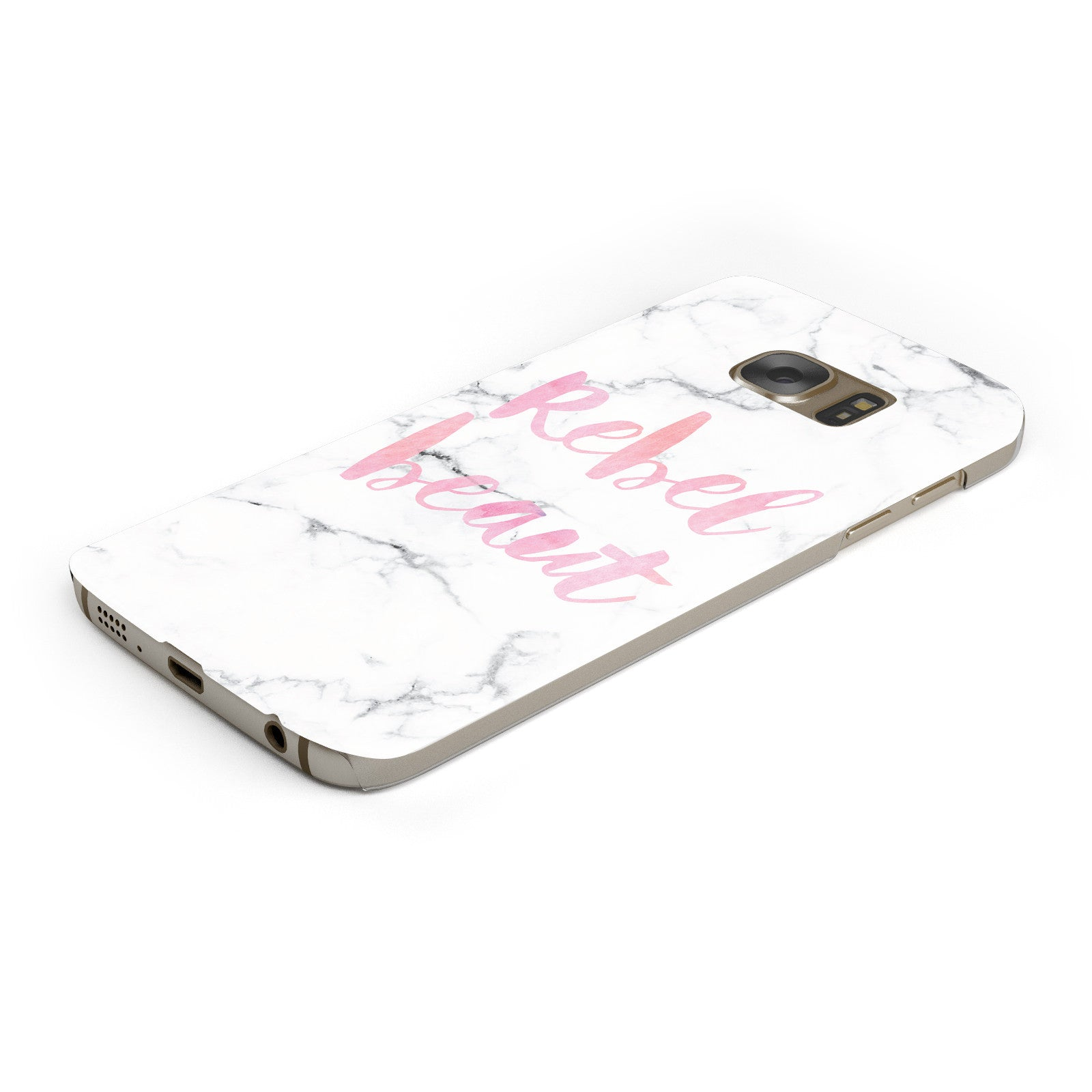 Rebel Heart Grey Marble Effect Samsung Galaxy Case Bottom Cutout