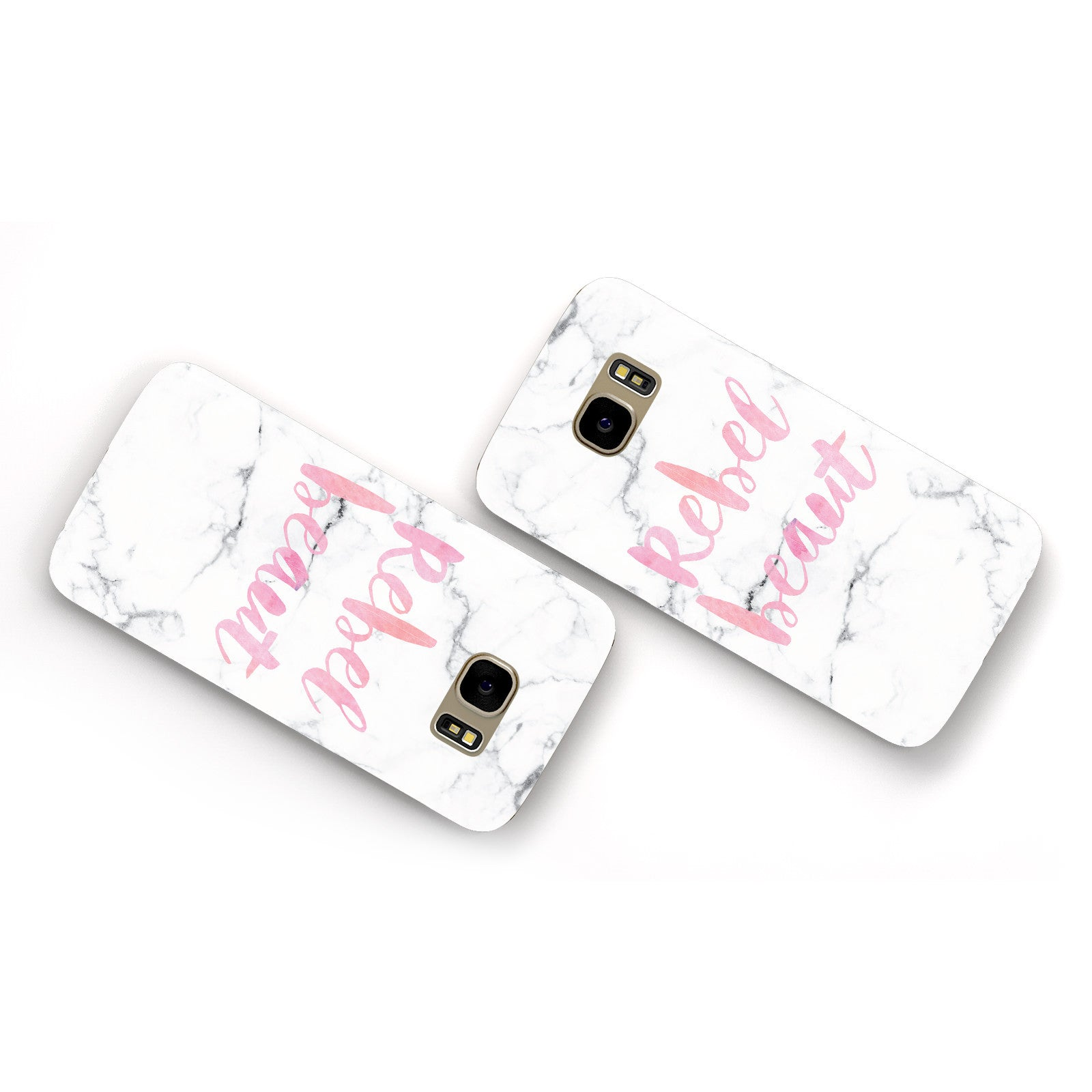 Rebel Heart Grey Marble Effect Samsung Galaxy Case Flat Overview