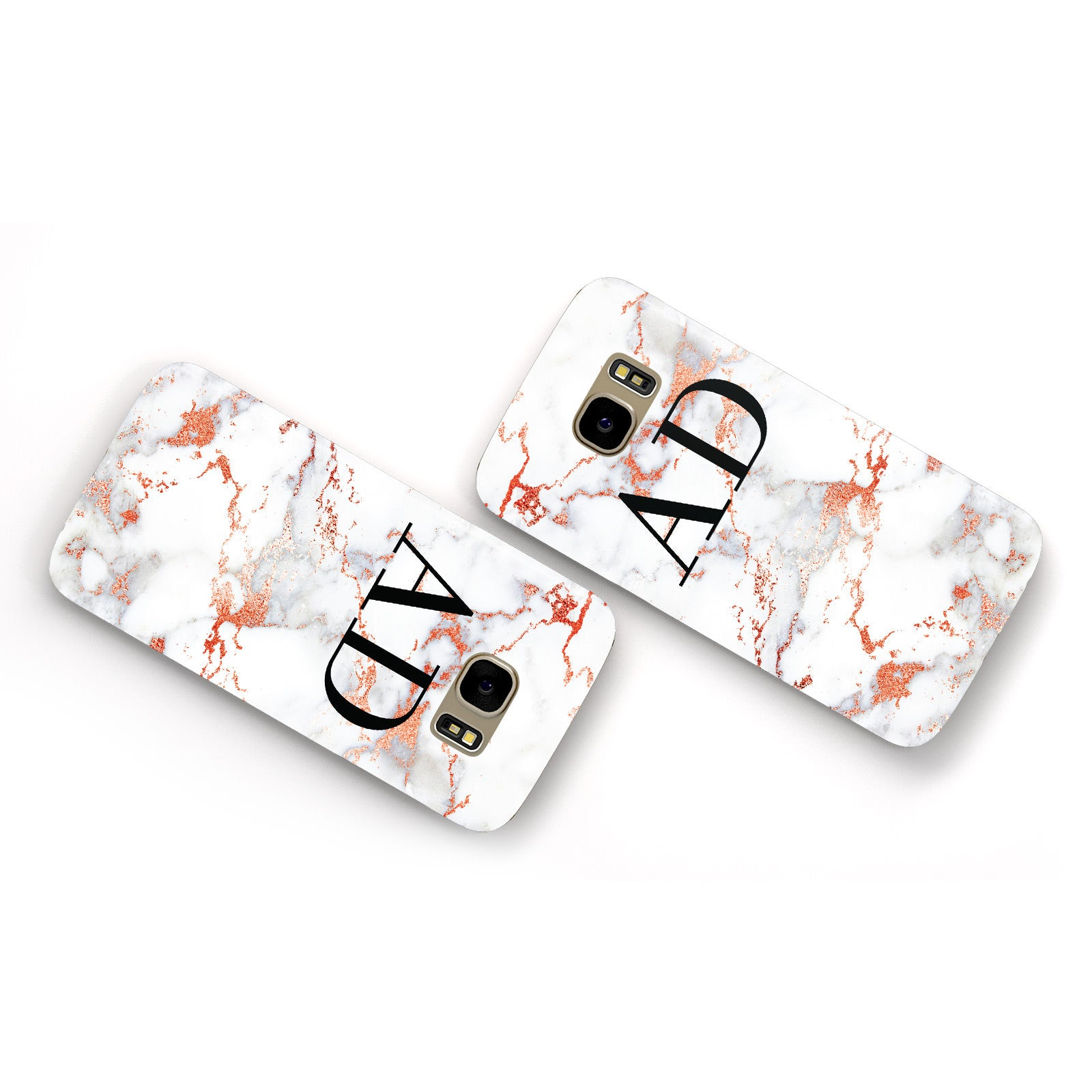 Personalised Rose Gold Marble Initials Samsung Galaxy Case Flat Overview