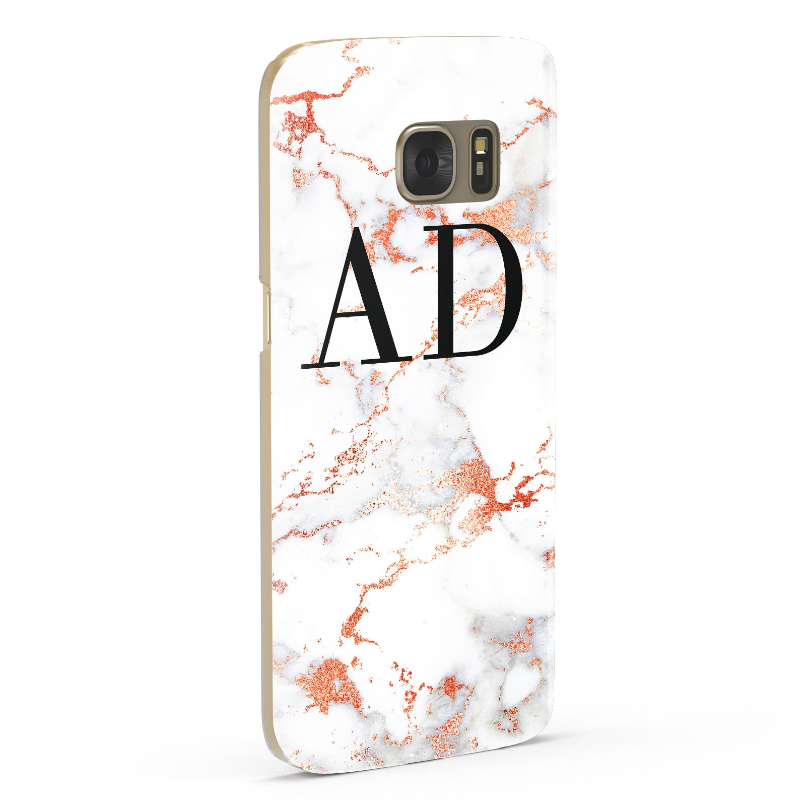 Personalised Rose Gold Marble Initials Samsung Galaxy Case