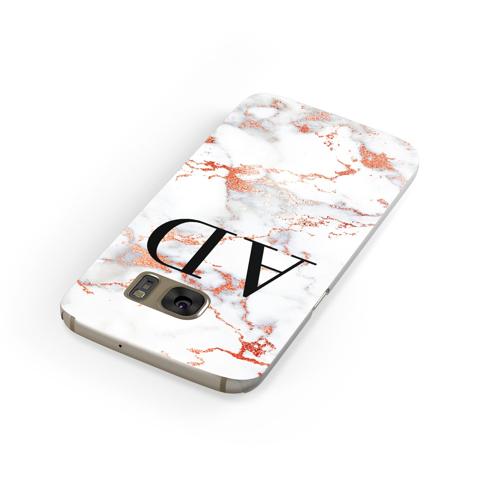 Personalised Rose Gold Marble Initials Samsung Galaxy Case Front Close Up
