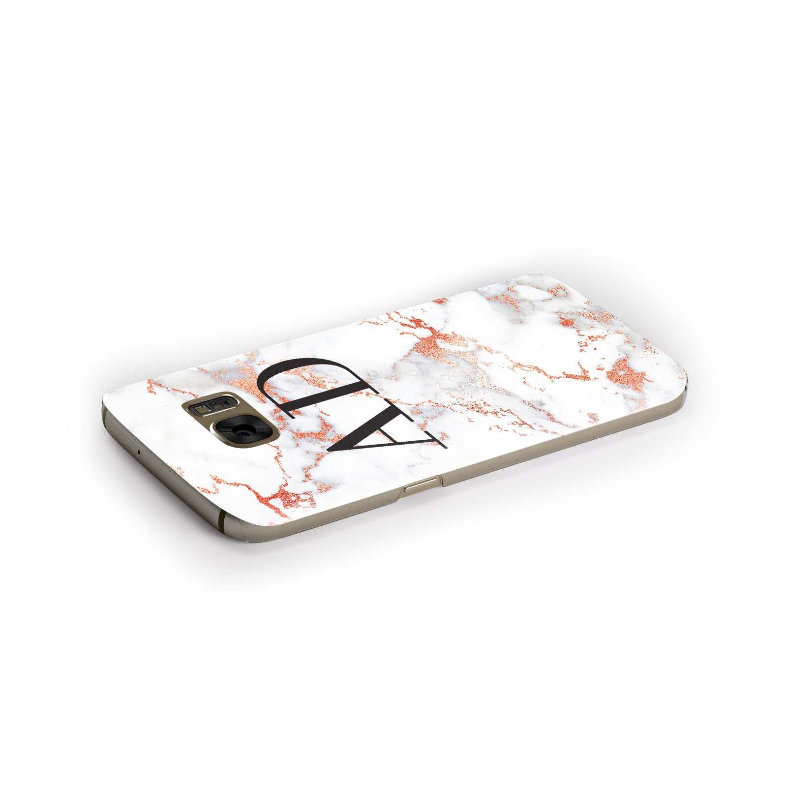 Personalised Rose Gold Marble Initials Samsung Galaxy Case Side Close Up