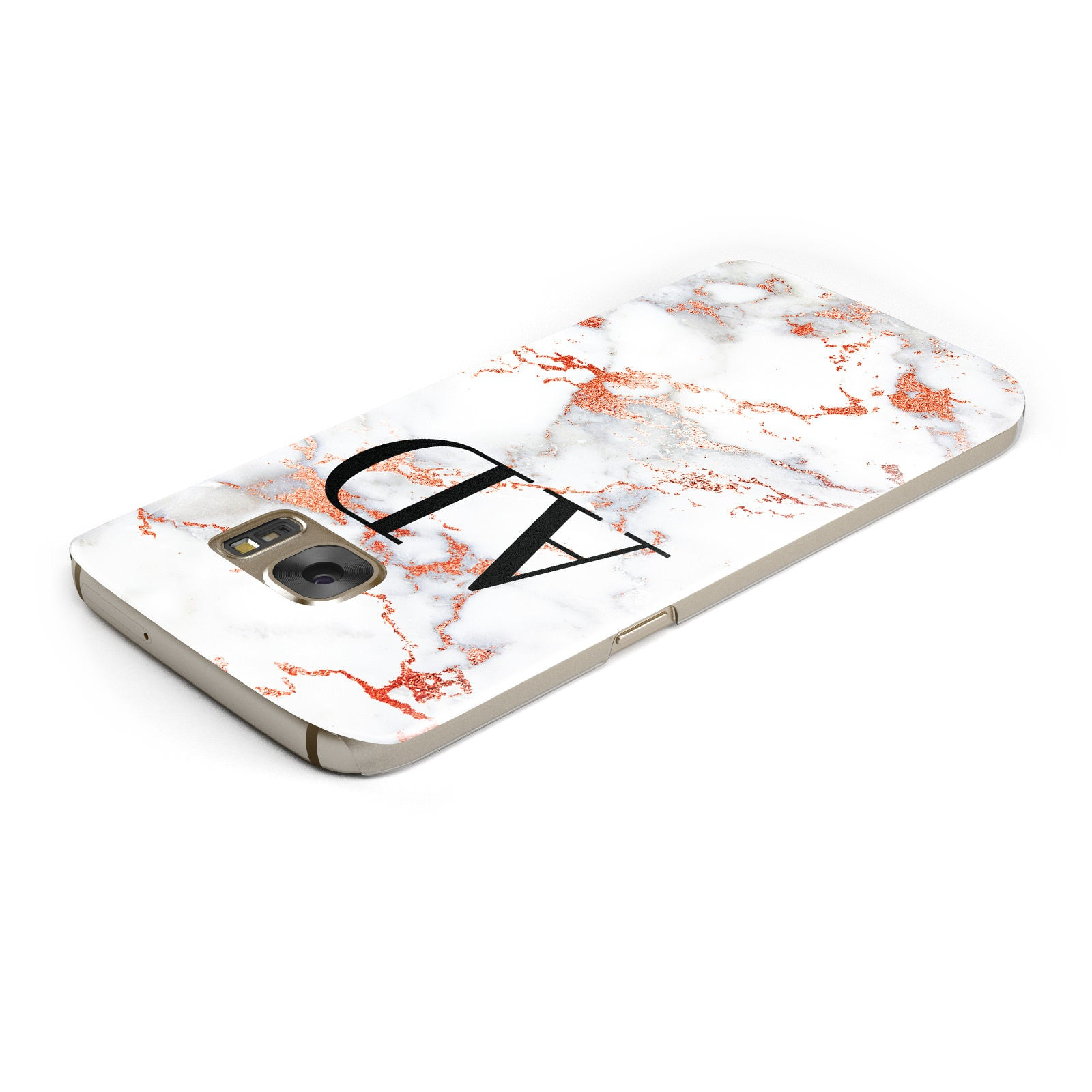 Personalised Rose Gold Marble Initials Samsung Galaxy Case Top Cutout