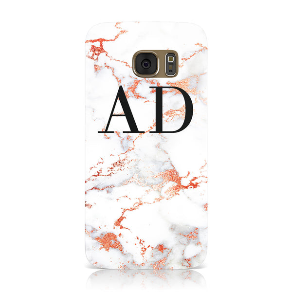 sale retailer 32541 b1108 Personalised Rose Gold Marble Initials Samsung Galaxy Case