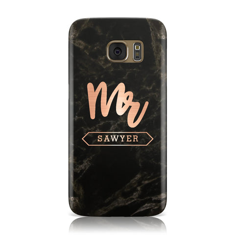 Personalised Rose Gold Mr Surname Marble Samsung Galaxy Case