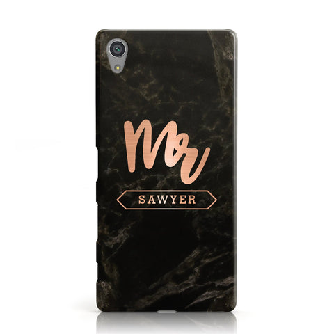 Personalised Rose Gold Mr Surname Marble Sony Xperia Case
