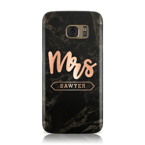 Personalised Rose Gold Mrs Surname Marble Samsung Galaxy Case