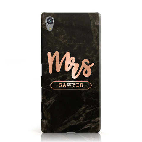 Personalised Rose Gold Mrs Surname Marble Sony Xperia Case