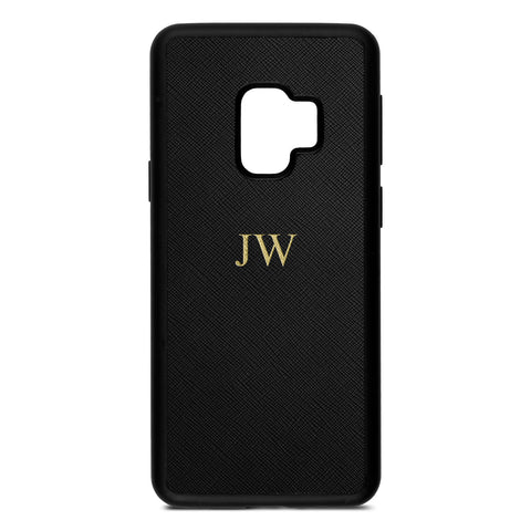 Personalised Black Saffiano Leather Samsung Case
