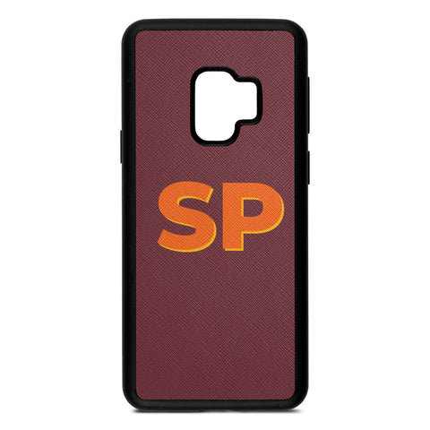 Personalised Drop Shadow Brown Rose Leather Samsung Case