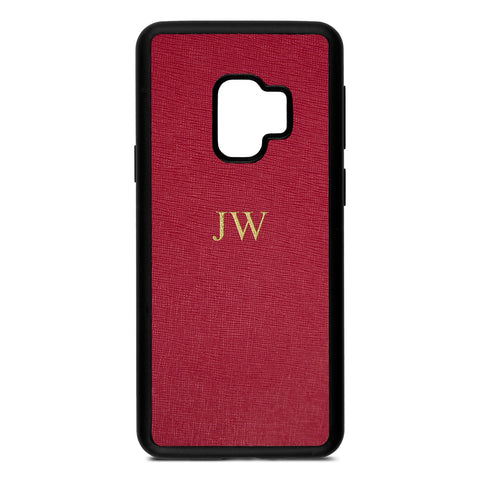 Personalised Dark Red Saffiano Leather Samsung Case