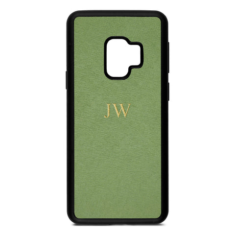 Personalised Lime Green Saffiano Leather Samsung Case