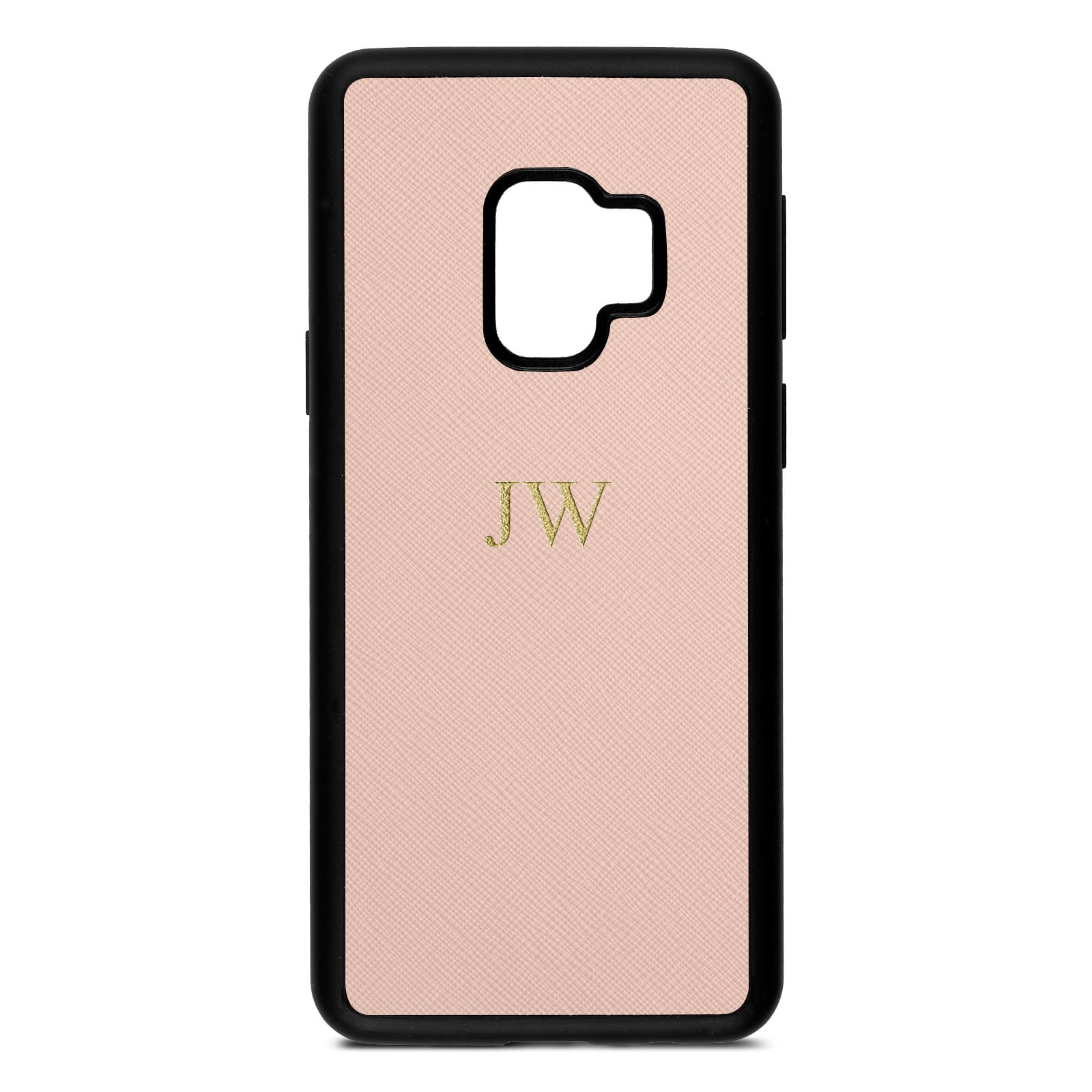 Personalised Nude Saffiano Leather Samsung S9 Case