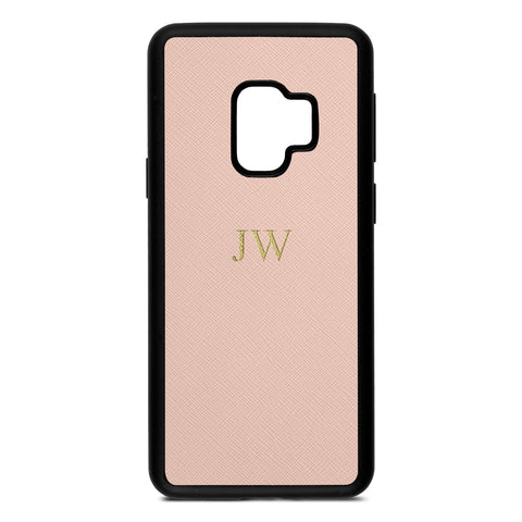 Personalised Nude Saffiano Leather Samsung Case