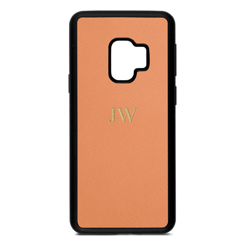 Personalised Orange Saffiano Leather Samsung Case