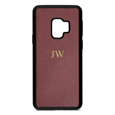 Personalised Brown Rose Saffiano Leather Samsung Case
