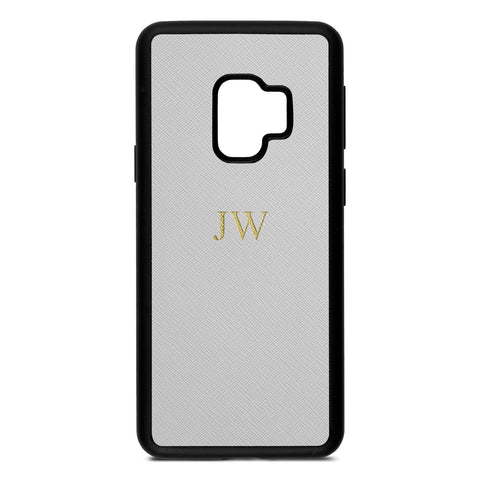 Personalised Silver Saffiano Leather Samsung Case