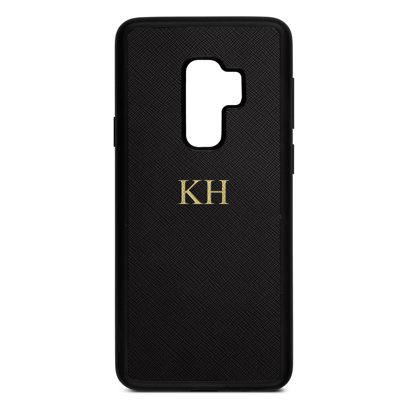 Personalised Black Saffiano Leather Samsung S9 Plus Case